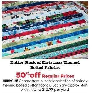 Craft Warehouse Black Friday: Christmas Themed Bolted Fabrics - 50% OFF