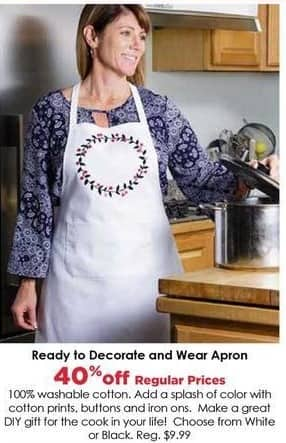 Craft Warehouse Black Friday: Ready to Decorate & Wear White Apron - 40% OFF
