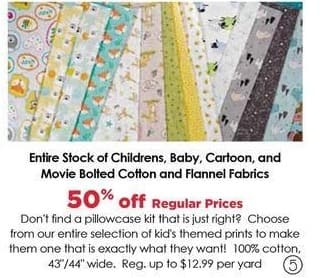 Craft Warehouse Black Friday: Baby Bolted Cotton Fabrics - 50% OFF