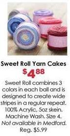 Craft Warehouse Black Friday: Sweet Roll Yarn Cakes for $4.88