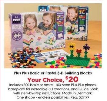 Craft Warehouse Black Friday: Plus Plus Pastel 3-D Building Blocks for $20.00