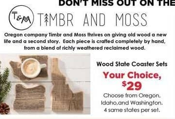 Craft Warehouse Black Friday: Timbr And Moss Idaho Wood Slate Coaster Sets for $29.00