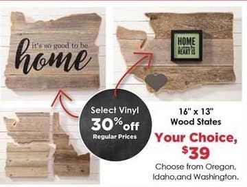 Craft Warehouse Black Friday: Timbr And Moss Washington 16-in. x 13-in. Wood States for $39.00