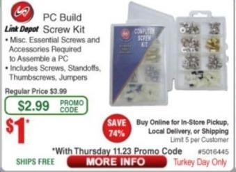 Frys Black Friday: Link Depot PC Build Screw Kit for $1.00