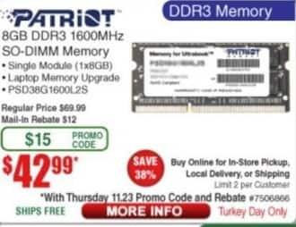 Frys Black Friday: Patriot DDR3 1600HHz 8 GB SO-DIMM Memory for $42.99 after $12.00 rebate