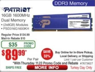 Frys Black Friday: Patriot DDR3 1600MHz 16GB Memory for $89.99 after $10.00 rebate