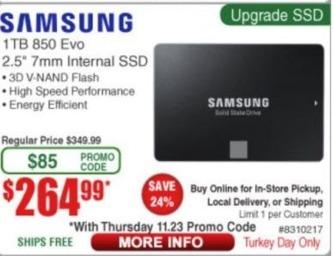 Frys Black Friday: Samsung 850 EVO 1TB 2.5'' 7mm Internal SSD for $264.99