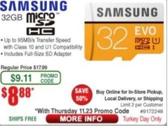 Frys Black Friday: Samsung Micro 32GB SDHC Card for $8.88