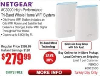 Frys Black Friday: Netgear AC3000 High-Performance Tri-Band Whole Home WiFi System for $279.99