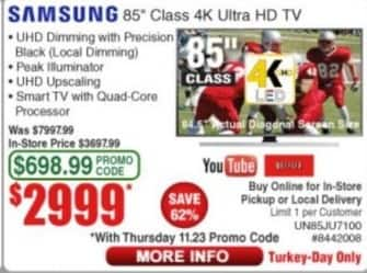 "Frys Black Friday: 85"" Samsung UN85JU7100 4K Class Ultra HD TV for $2,999.00"