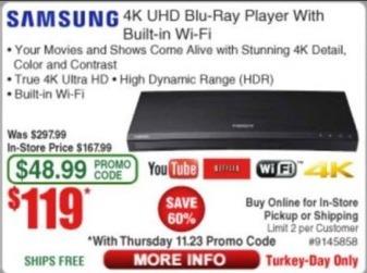 Frys Black Friday: Samsung 4K UHD Blu-Ray Player w/ Built-In Wi-Fi for $119.99