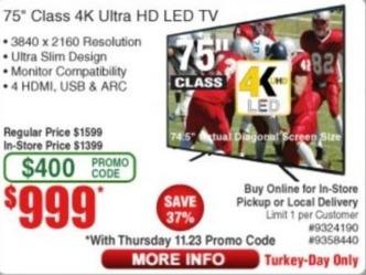 "Frys Black Friday: 75"" 4K Class LED Ultra HD TV for $999.00"
