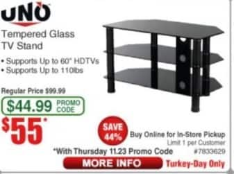 Frys Black Friday: UNO Tempered Glass TV Stand for $55.00