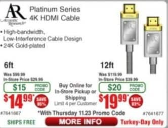 Frys Black Friday: AR 4K Platinum Series 6ft. HDMI Cable for $14.99