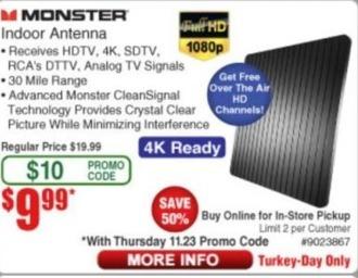 Frys Black Friday: Monster Indoor Antenna for $9.99