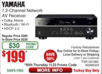 Frys Black Friday: Yamaha TSR-5810BL 7.2-Channel Network AV Receiver (Refurbished) for $199.00