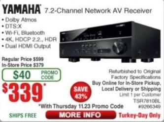 Frys Black Friday: Yamaha TSR-7810BL 7.2-Channel Network AV Receiver (Refurbished) for $339.00