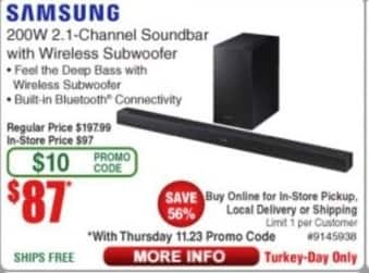 Frys Black Friday: Samsung 200W 2.1- Channel Soundbar w/ Wireless Subwoofer for $87.00