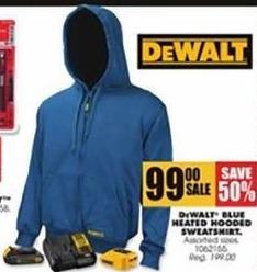 Blains Farm Fleet Black Friday: DeWalt Blue Heater Hooded Sweatshirt for $99.00