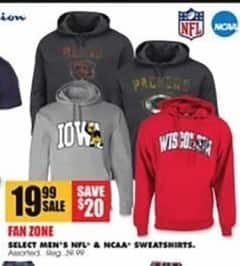 Blains Farm Fleet Black Friday: NCAA Men's Select Sweatshirts for $19.99