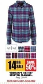 Blains Farm Fleet Black Friday: CO/CO Women's Stretch Flannel for $14.99