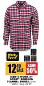 Blains Farm Fleet Black Friday: Work N Sport Men's Brushed Flannel Shirts for $12.49
