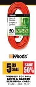 Blains Farm Fleet Black Friday: Woods 50' 14/3 Lawn & Garden Extension Cord for $5.89