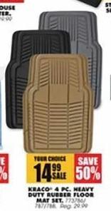Blains Farm Fleet Black Friday: Kraco 4 Pc. Heavy Duty Rubber Floor Mat Set for $14.99