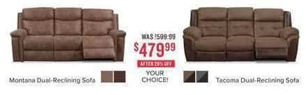 Value City Furniture Black Friday: Tacoma Dual-Reclining Sofa for $479.99