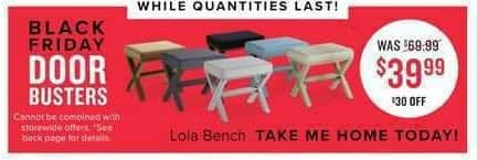 Value City Furniture Black Friday: Lola Bench for $39.99