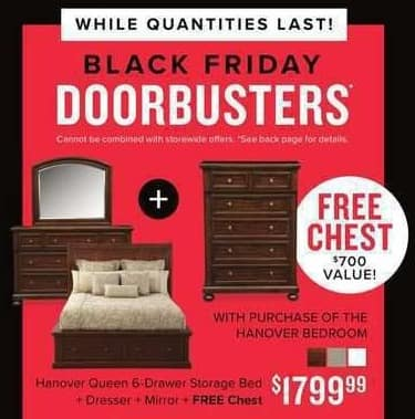 Value City Furniture Black Friday: Hanover Queen 6-Drawer Storage Bed + Dresser + Mirror + FREE Chest for $1,799.99