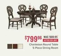 Value City Furniture Black Friday: Charleston Round Table 5-Piece Dining Room for $799.96