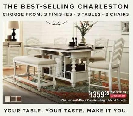 Value City Furniture Black Friday: Charleston 6-pc. Counter-Height Island Dinette for $1,359.95