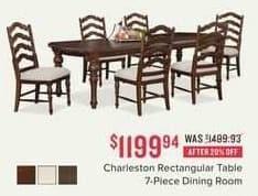 Value City Furniture Black Friday: Charleston Rectangular Table 7-pc. Dining Room for $1,199.94