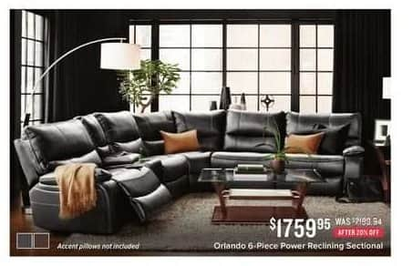 Value City Furniture Black Friday: Orlando 6-pc. Power Reclining Sectional for $1,759.95