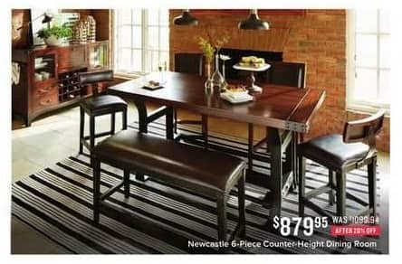 Value City Furniture Black Friday: Newcastle G-Piece Counter-Height Dining Room for $879.95