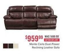 Value City Furniture Black Friday Monte Carlo Dual Power Reclining