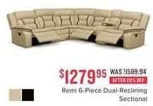 Value City Furniture Black Friday: Romi 6-pc. Dual Reclining Sectional for $1,279.95