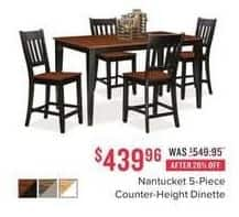 Value City Furniture Black Friday: Nantucket 5-pc. Counter-Height Dinette for $439.96