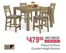 Value City Furniture Black Friday: Tribeca 5-pc. Counter-Height Dinette for $479.96