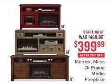 Value City Furniture Black Friday: Merrick Fireplace for $399.99