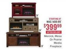 Value City Furniture Black Friday: Mesa Fireplace for $399.99