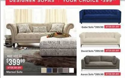 Value City Furniture Black Friday: Marisol White Sofa for $399.99