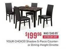 Value City Furniture Black Friday: Shadow 5-pc. Counter-Height Dinette for $199.98