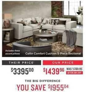 Value City Furniture Black Friday: Collin Comfort Cushion 5-pc. Sectional w/ Three Accent Pillows for $1,439.96