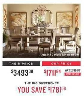 Value City Furniture Black Friday: Angelina 7-pc. Dining Room for $1,711.94