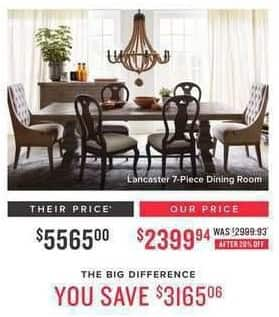 Value City Furniture Black Friday: Lancaster 7-pc. Dining Room for $2,399.94