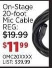 Sam Ash Black Friday: On-Stage 20-Foot Mic Cable for $11.99