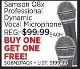Sam Ash Black Friday: Samson Q8x Professional Dynamic Vocal Microphone - B1G1