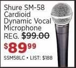 Sam Ash Black Friday: Shure SM-58 Cardioid Dynamic Vocal Microphone for $89.99